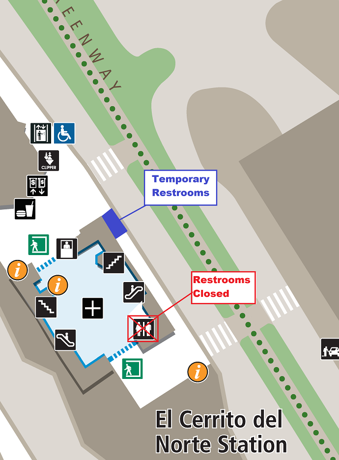 Map of closed restrooms and location of temporary restrooms at El Cerrito del Norte Station