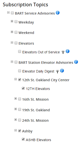 screenshot of elevator alert page