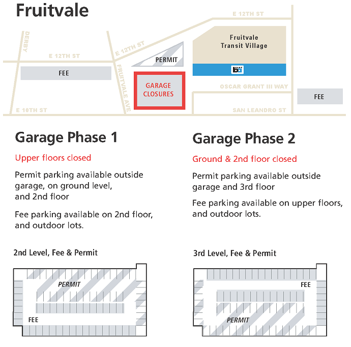 Map of closures for phases of lighting project at Fruitvale Garage.