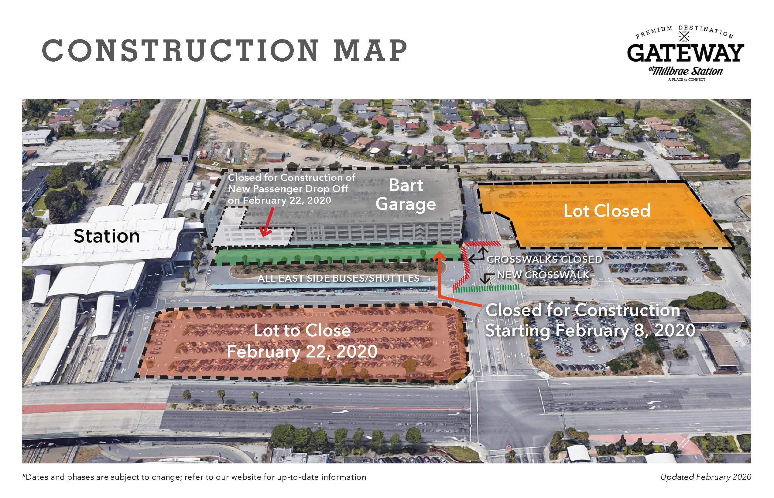 Map of parking changes at Millbrae
