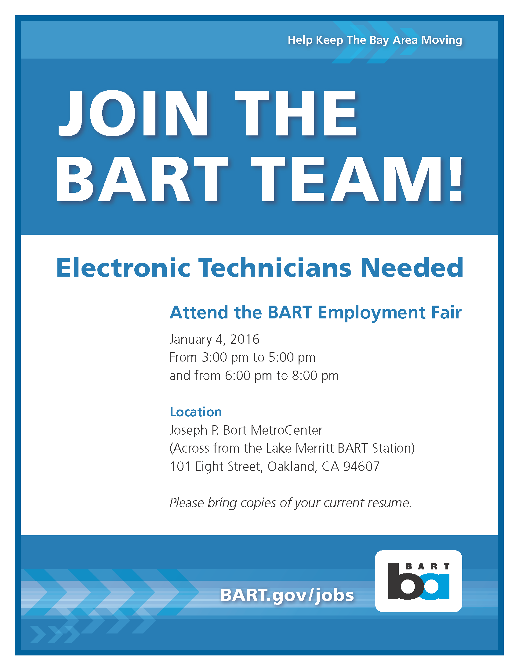 bart hosts job fair to recruit electronic technicians