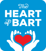 Heart of BART graphic treatment - hands holding heart