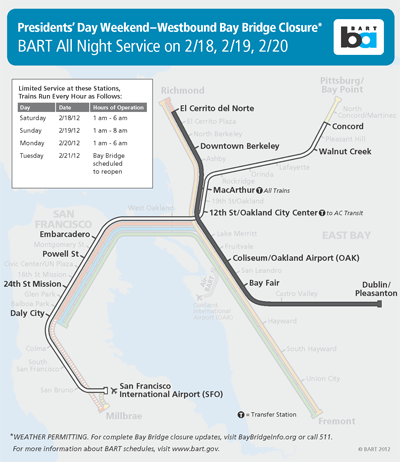 BART All Night Service on 2/18, 2/19, 2/20
