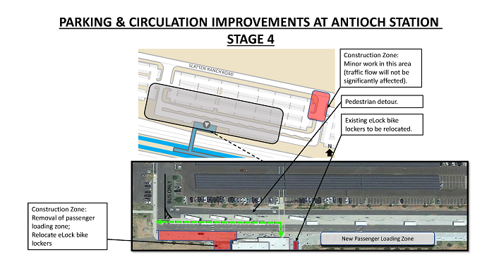 Map of Stage 4 changes in Parking at Antioch