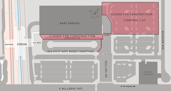 Location of new walkway and shuttle stops