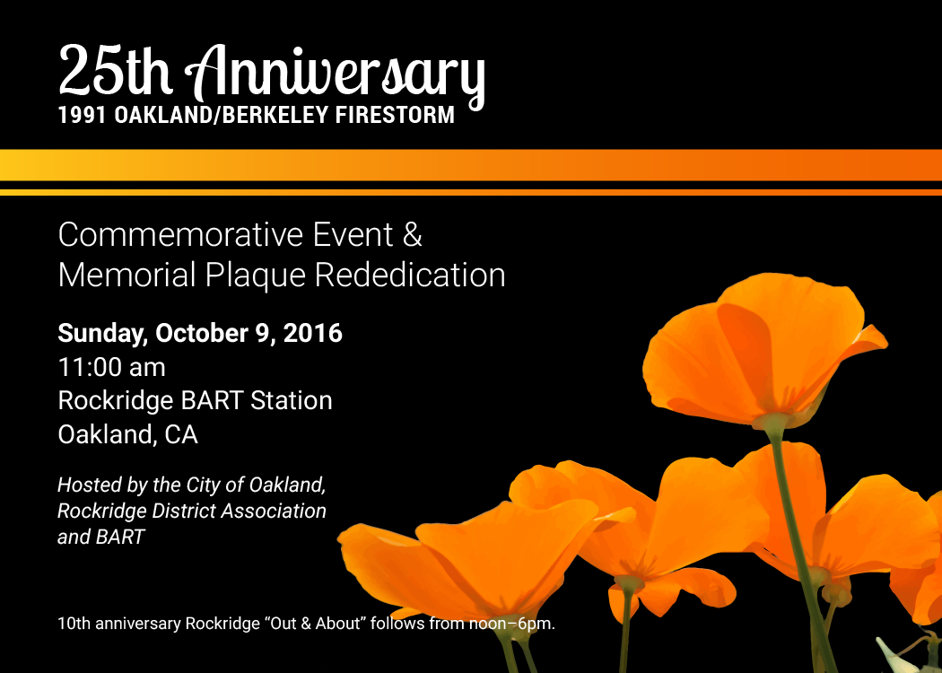 Oct 9th Event at Rockridge BART