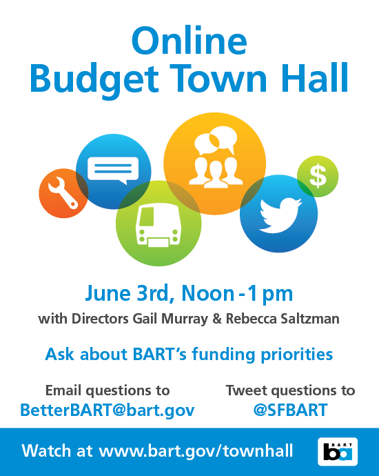 Online townhall June 3rd noon-1pm www.bart.gov/townhall