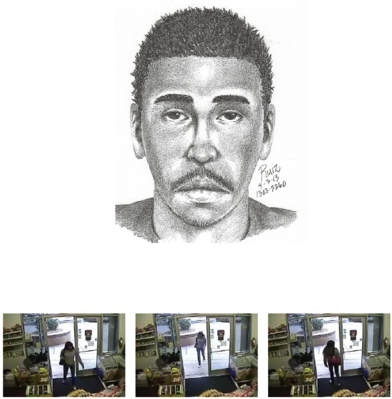 sketch of shooting suspect and surveillance footage images