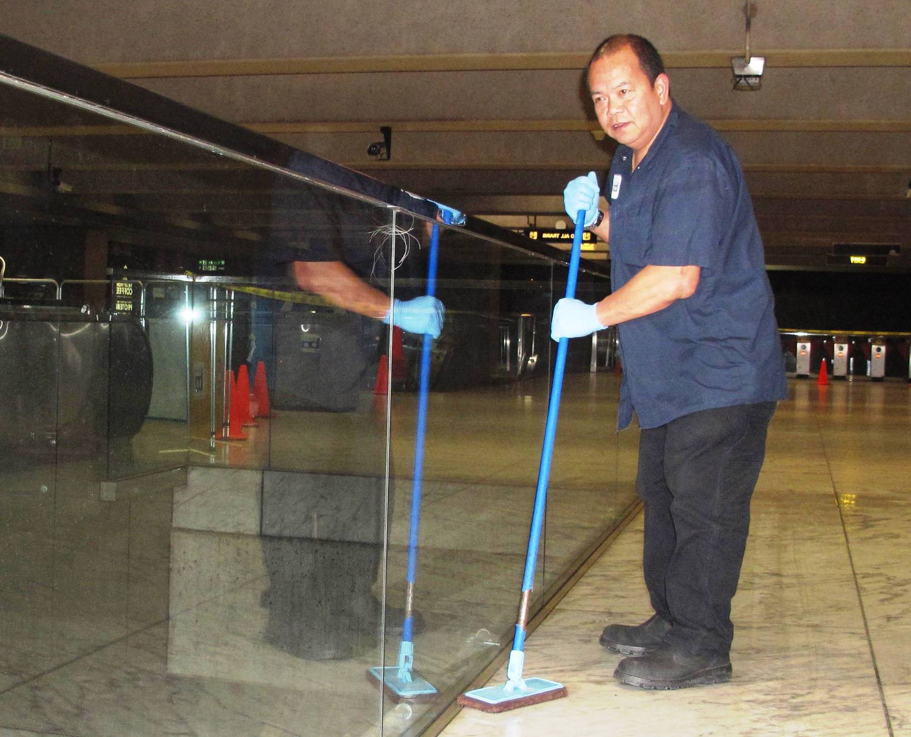 cleaning floor at Embarcadero