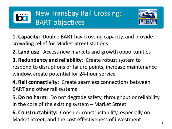 Second Transbay objectives