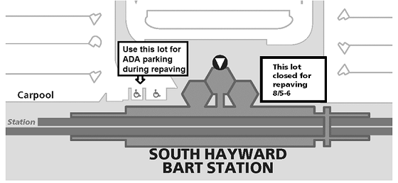 Map of south ADA parking  lot