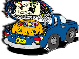 cartoon graphic of pumpkin and candy in car