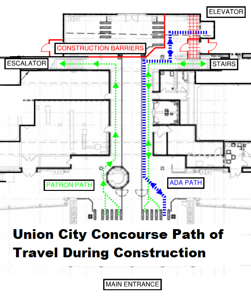 Suggest path of travel on Concourse during construction at Union City