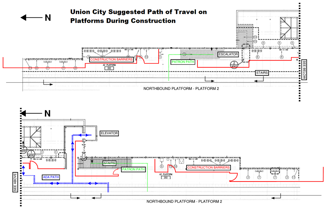Suggested path of travel on Platform during construction