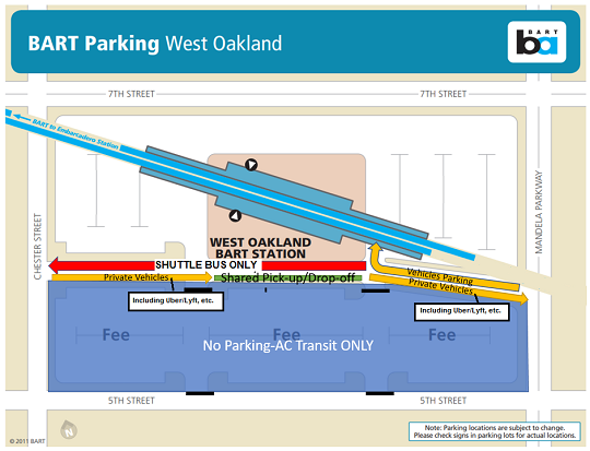 Parking at West Oakland during shutdowns