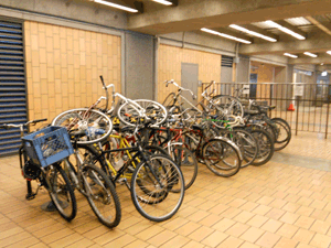 crowded bike rack at Ashby Station