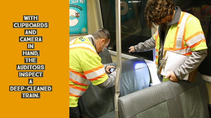 Auditors inspect a deep-cleaned train