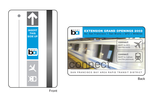 A commemorative BART ticket was created to celebrate the opening of the SFO station