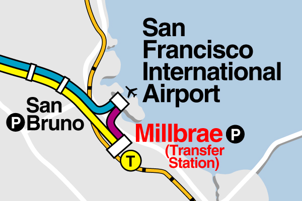 The old purple BART line that ran between Millbrae and SFO