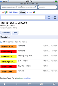 BART schedule on Google Mobile