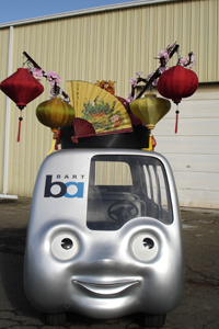 BARTmobile wearing parade hat