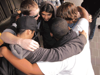 Bayhill students huddle