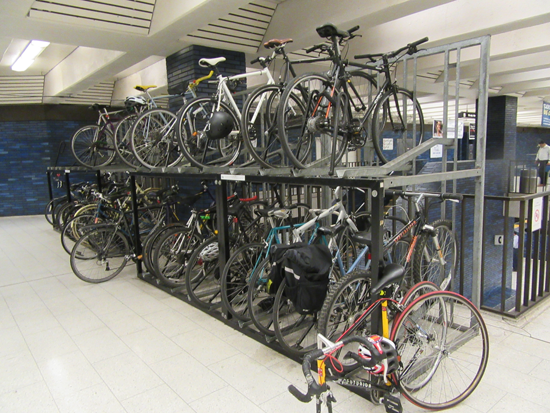 bike racks in 19th Street BART station