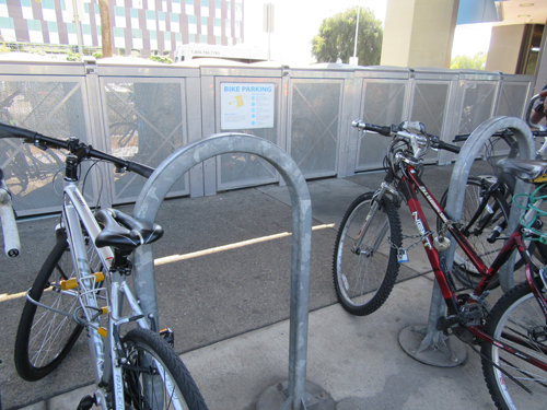 outdoor bike racks and electronic bike lockers at San Leandro BART Station