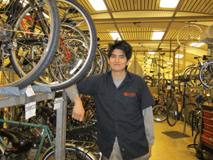 bike station employee Felipe Morales