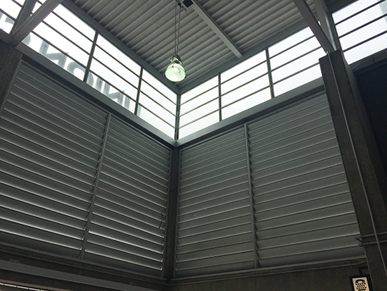 corrugated metal walls and skylights