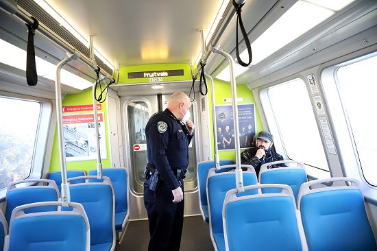 On a train walkthrough Chief Alvarez asked a passenger whose mask was down around his neck to wear it properly