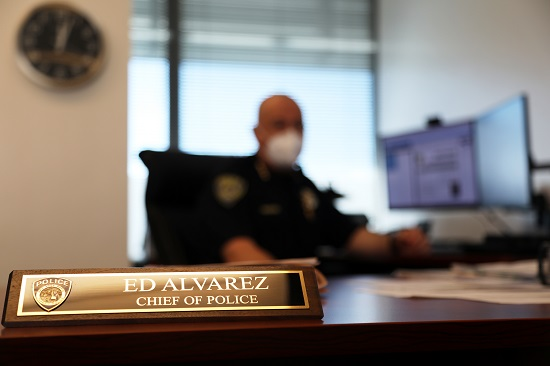 Chief Alvarez at his desk in the BART Police headquarters in Oakland on Jan. 15, 2021