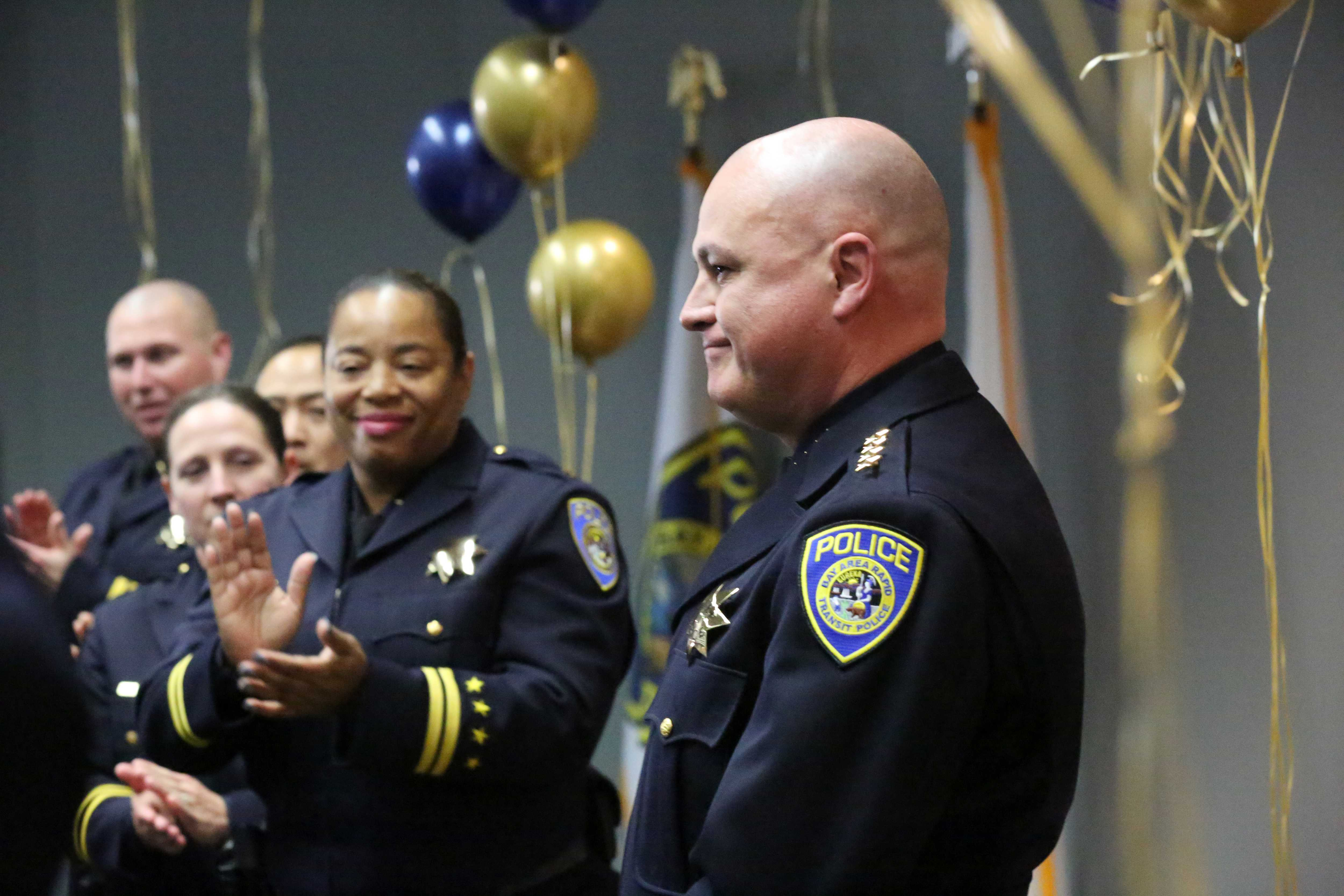 Swearing-in ceremony for Alvarez on Feb. 7, 2020. At left, applauding, is Deputy Chief Angela Averiett, whom Alvarez named to le