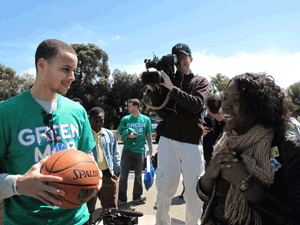 Steph Curry meets a fan at Rockridge Station