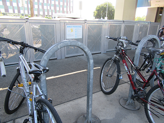 e-lockers and bike racks