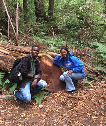 Sgt. Carter, right, with a member of a police youth explorer group on a field trip to Muir Woods