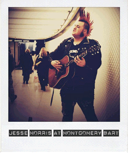 Jesse Morris sings in a BART station