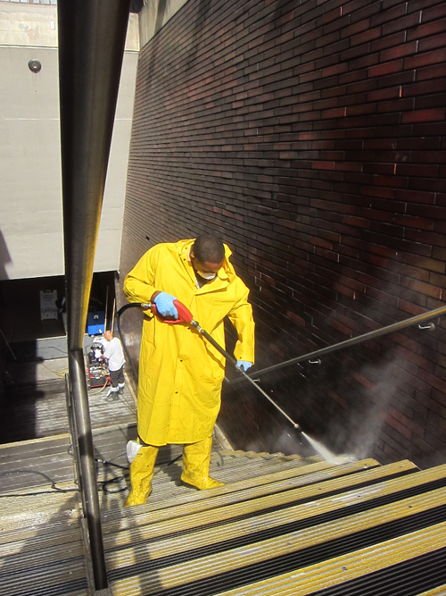 steam cleaning stairs