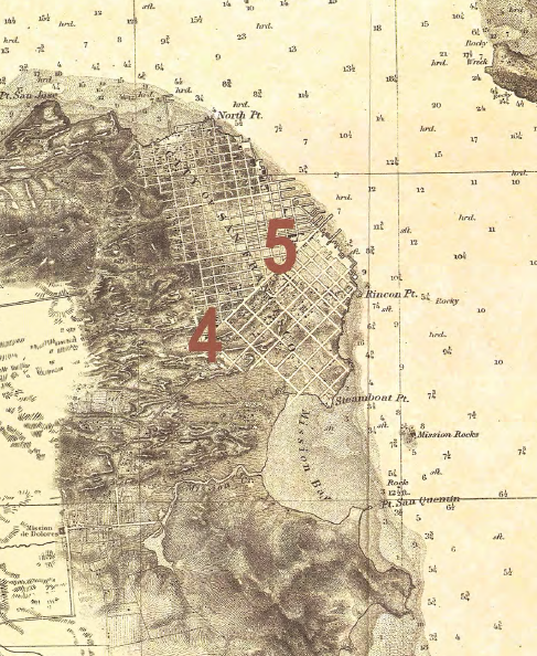 an old map shows the natural creeks that once flowed above ground in San Francisco