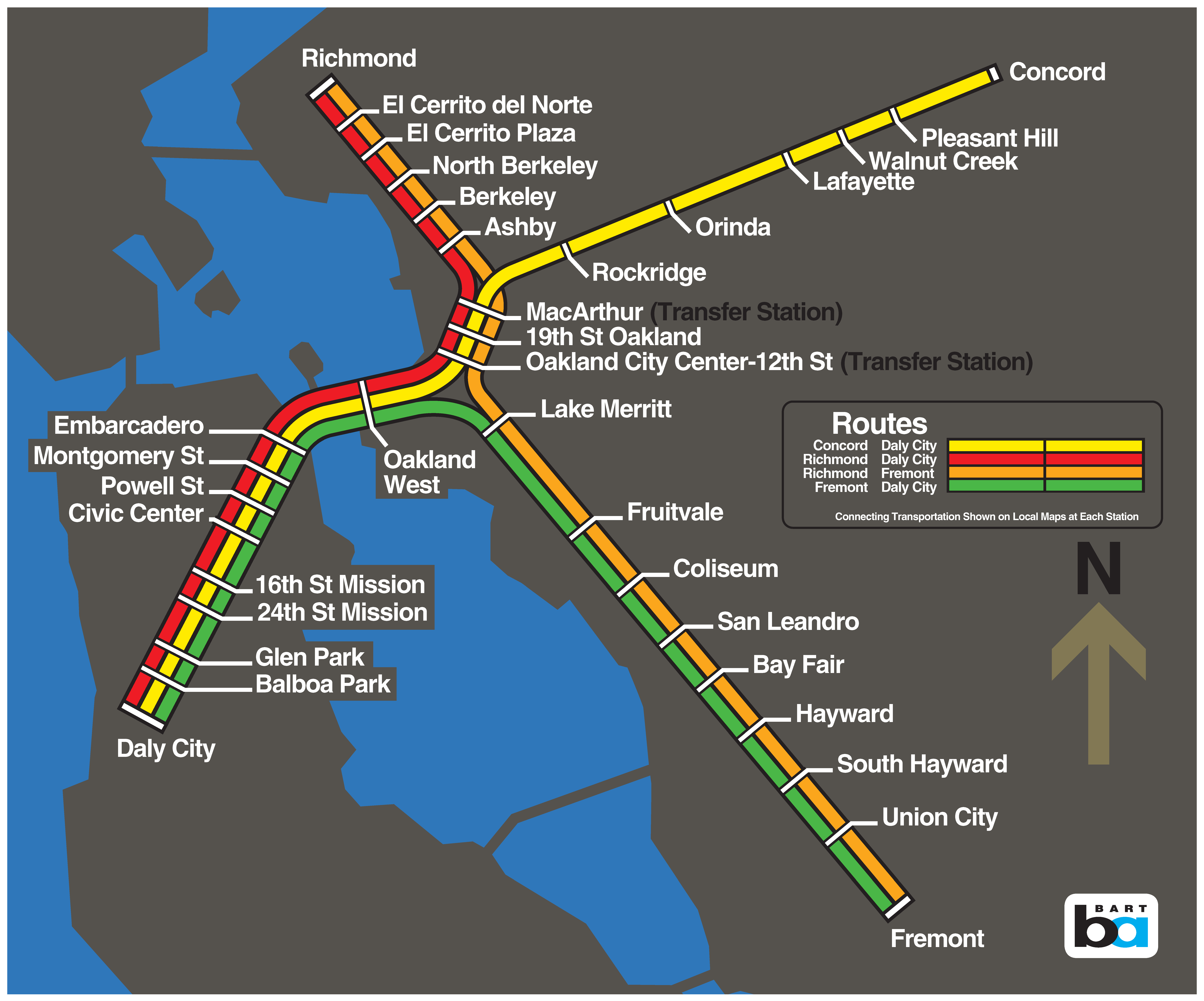 Podcast Explore The History Of The Bart Map Bart Gov The nine counties of the san francisco bay area are connected by a network of local and regional transit systems. bart gov