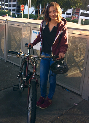 the author with her bike