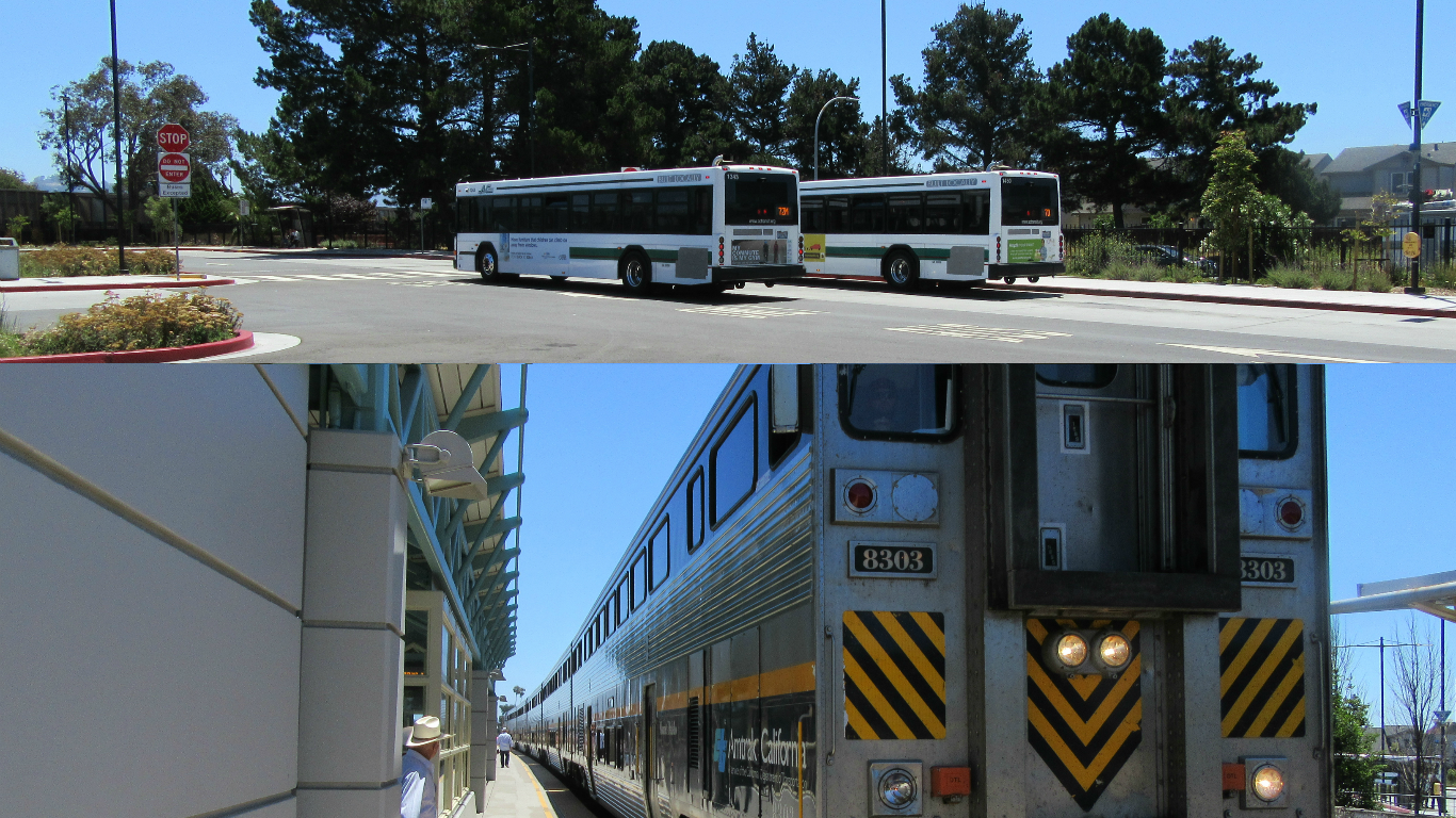 AC Transit buses, top, and Amtrak train, below, connect to BART
