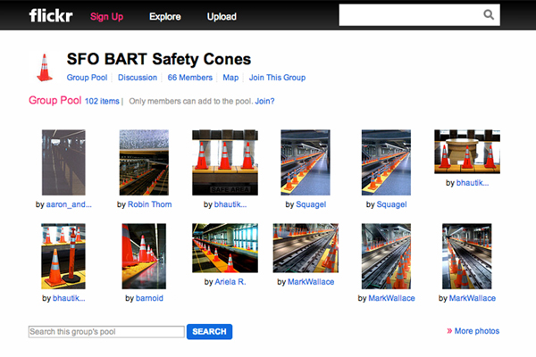 SFO BART safety cones have their own Flickr group with over 60 members and counting