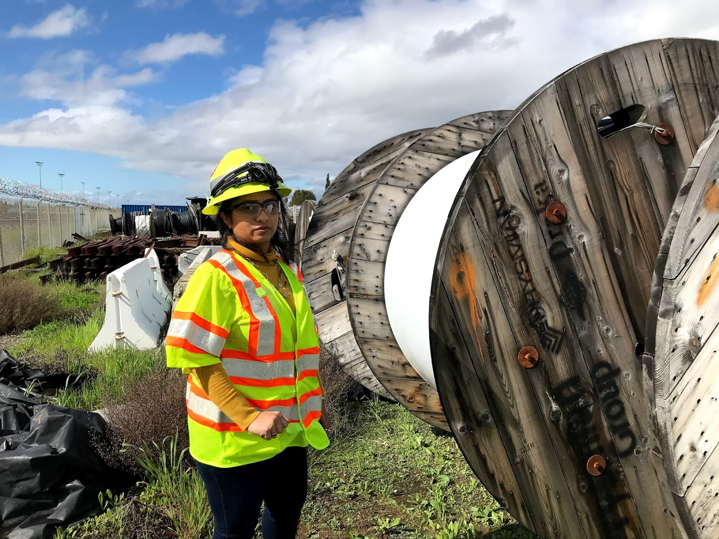 Maansii Chirag Sheth checks on spools of cable to be used for Transbay Tube work