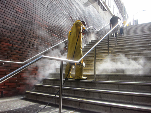 steam cleaner on stairs