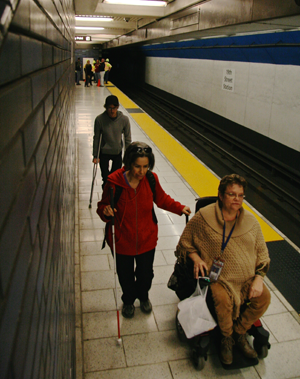 participants walk along the platform