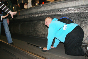 a participant crawls in the refuge zone