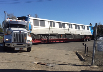 first new train car pulls in to Hayward
