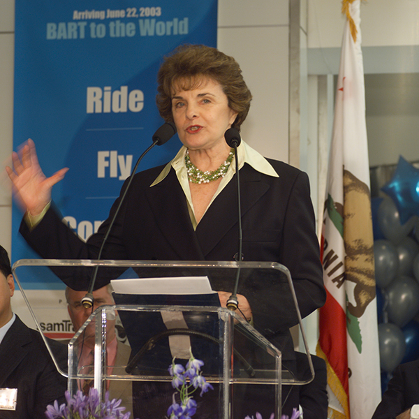 United States Senator Dianne Feinstein addresses the opening day crowd.