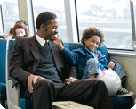 Will Smith and Jaden Smith on a BART train